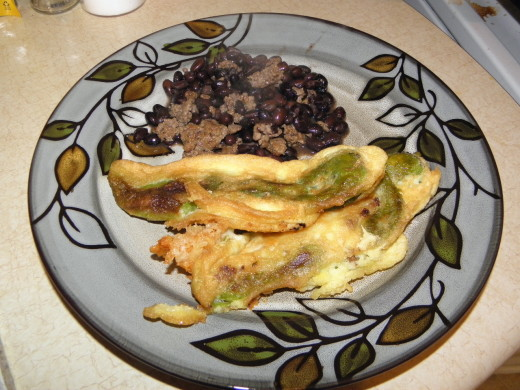 Gluten Free Cheese & Beef Hatch Roasted Green Chile Rellenos