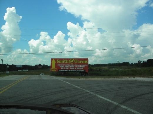Smith Farms Store sign. You see it when you get off at the exit.