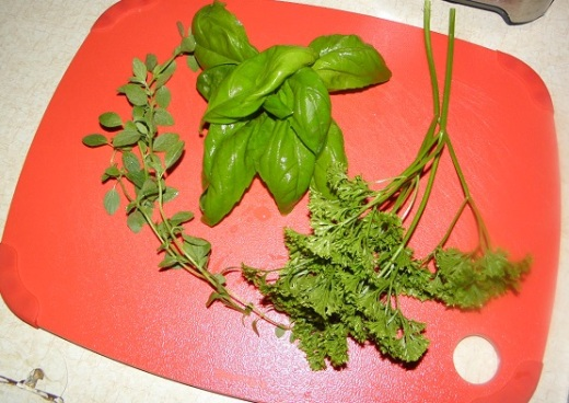Basil, Parsley and Oregano from my porch garden