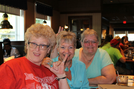 That's Carol, Elaine, and me at Red Lobster. Nothing has changed about this trio in 45 years.