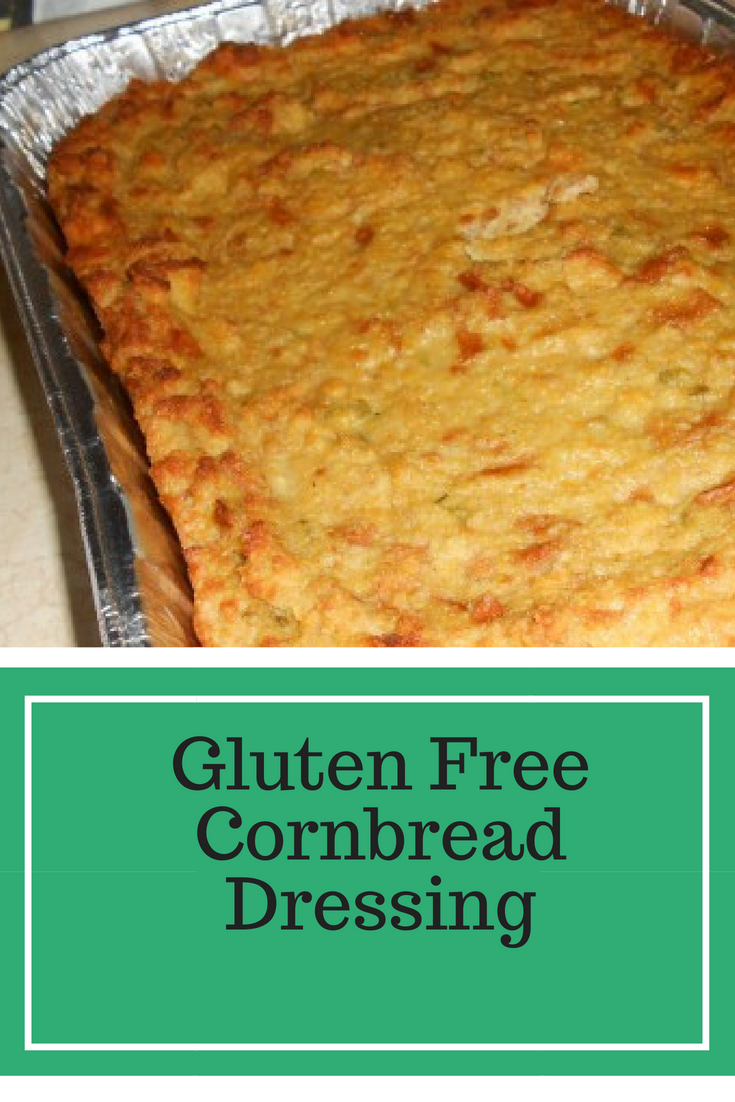 Gluten Free Cornbread Dressing tastes just like what Mama used to make, minus the gluten. Delicious with giblet gravy and cranberry sauce.