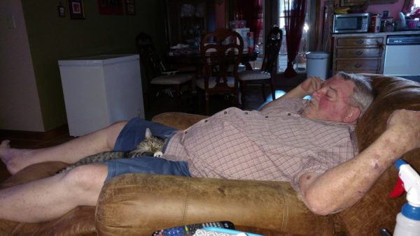 Fabgrandpa and Rosie The Boy Cat snoozing in the chair.