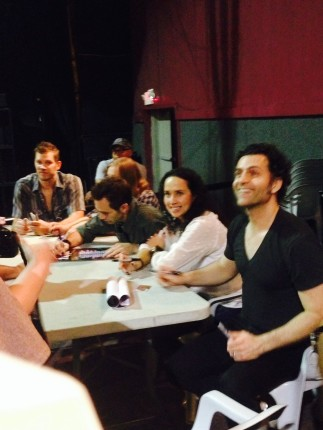 I was talking to Dweezil in this photo, but all you can see of me is my hand. The rest of the band is Sheila Gonzalez, Kurt Morgan, Chris Norton, Ben Thomas.