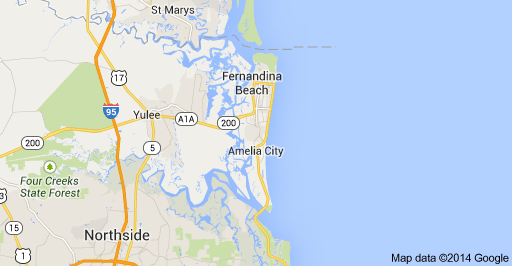 Map to Amelia Island, Florida