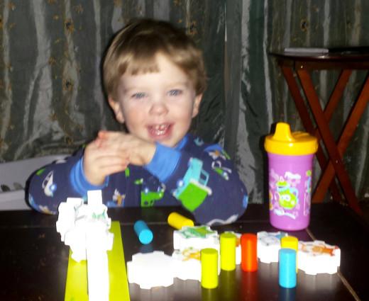 Parker loves his Mini Monster Pile On Game