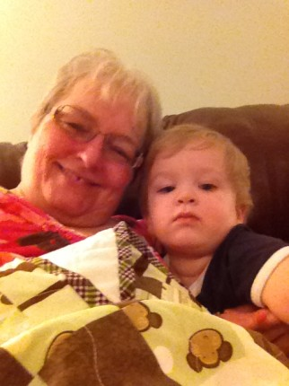Parker snuggled up with Granny