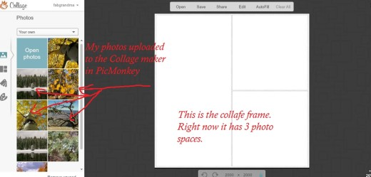 Your photos will upload to the Collage Maker