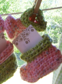 Pink Crocheted Baby Booties $6.00