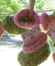 Green Crocheted Baby Booties $6.00