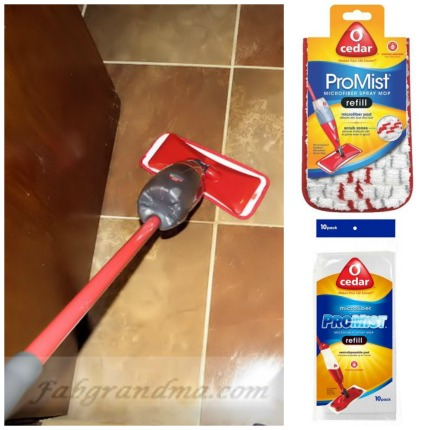 The O-Cedar Pro Mist Spray Mop, with Reusable or Disposable heads.
